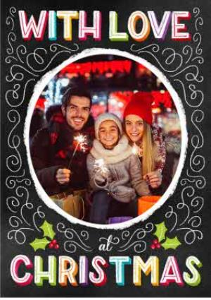 Greeting Cards - Colourful Neon Letters Personalised Christmas Photo Card - Image 1