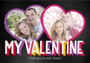 Greeting Cards - Colourful Letters For My Valentine Photo Card - Image 1