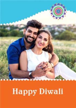 Greeting Cards - Bright Blue And Orange Happy Diwali Photo Card - Image 1