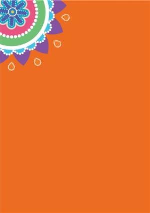 Greeting Cards - Bright Blue And Orange Happy Diwali Photo Card - Image 2