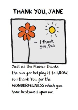 Greeting Cards - Edward Monkton Flower & Sunshine Personalised Thank You Card - Image 1