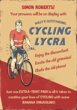 Greeting Cards - Cycling Outstanding Lycra Personalised Happy Birthday Card - Image 1