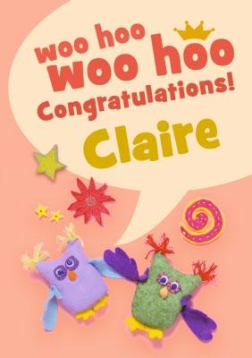 Woo Hoo Owl Personalised Congratulations Card Moonpig