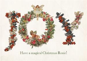 Greeting Cards - Angelice Wreath Joy Personalised Christmas Card - Image 1