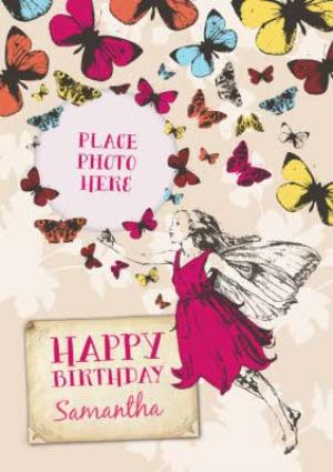 Greeting Cards - Butterflies And Fairy Personalised Photo Upload Happy Birthday Card - Image 1
