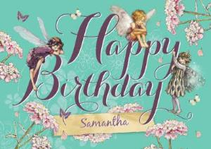 Greeting Cards - Candytuft Fairy Friends And Flowers Personalised Happy Birthday Card - Image 1