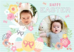 Greeting Cards - Aqua Striped Egg And Flower Happy Easter Photo Card - Image 1