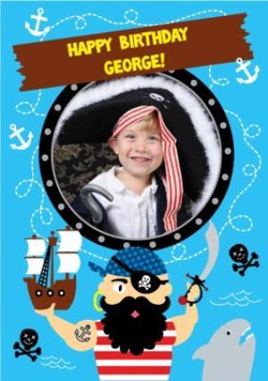 Greeting Cards - Cartoon Pirates Happy Birthday Photo Card - Image 1