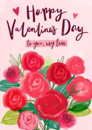 Greeting Cards - Romantic Flowers Happy Valentine's Photo Card - Image 1