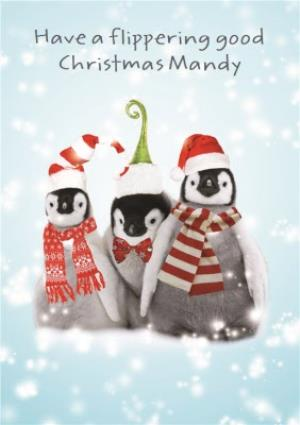 Greeting Cards - Baby Penguins Have A Flipping Good Christmas Card - Image 1