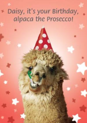 Greeting Cards - Alpaca The Prosecco Birthday Card - Image 1