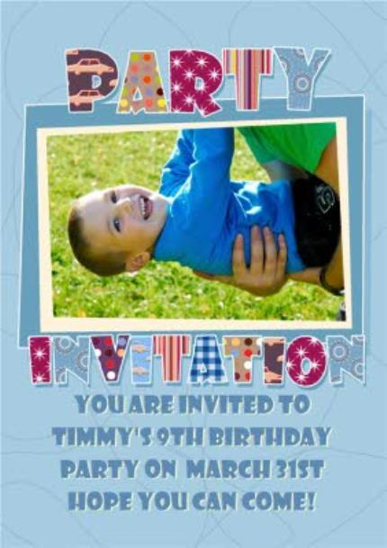 Greeting Cards - Little Boy's Personalised Photo Upload Party Invitation Card - Image 1