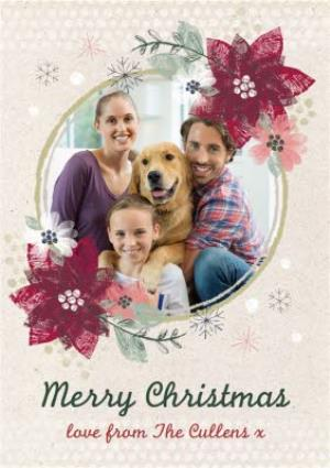 Greeting Cards - Christmas Flower Border Personalised Family Photo Upload Merry Christmas Card - Image 1