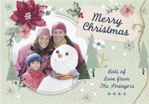 Greeting Cards - Festive Surroundings Personalised Family Photo Upload Merry Christmas Card - Image 1