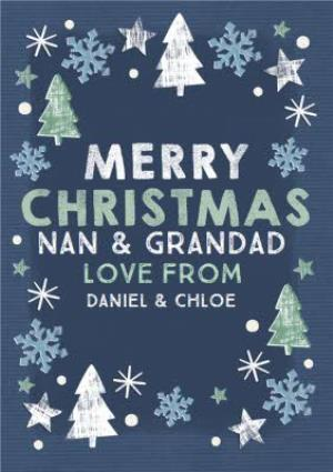 Greeting Cards - Festive Fir Navy Merry Christmas Personalised Christmas Card - Image 1
