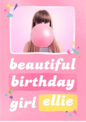 Greeting Cards - Beautiful Birthday Girl Pink Photo Upload Card - Image 1