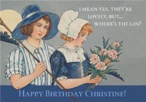 Greeting Cards - Birthday Card - Retro Illustration - Humour - Gin - Image 1