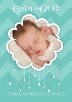 Greeting Cards - Born In 2019 Aqua Cloud Photo Upload Card - Image 1
