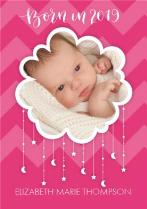 Greeting Cards - Born In 2019 Pink Cloud Photo Upload Card - Image 1