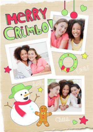 Greeting Cards - Cartoon Snowman And Friends Merry Crimbo Photo Card - Image 1