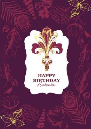 Greeting Cards - Plum Fleur De Lis Personalised Happy Birthday Card - Image 1