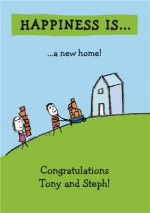 Greeting Cards - Cartoon Happiness Is Personalised New Home Card - Image 1