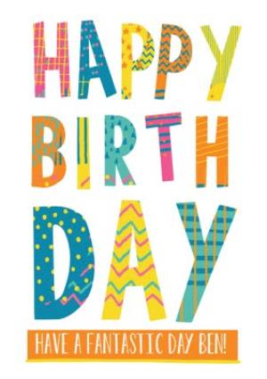 Greeting Cards - Bright Patterned Letters Happy Birthday Card - Image 1