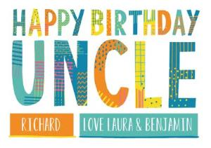 Greeting Cards - Bright Patterned Letters Uncle Happy Birthday Card - Image 1