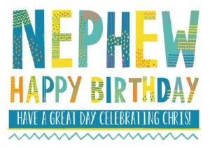 Greeting Cards - Bright Patterned Letters Nephew Happy Birthday Card - Image 1