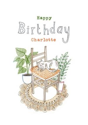 Greeting Cards - Birthday Card - Happy Birthday - Cat - House Plants - Cat Lady - Image 1