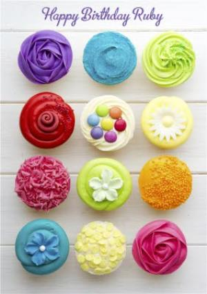 Greeting Cards - Colourful And Bright Cupcakes Personalised Happy Birthday Card - Image 1
