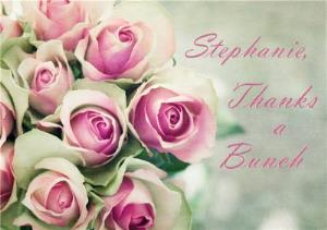 Greeting Cards - Bouquet Of Pink Roses Personalised Thanks A Bunch Card - Image 1