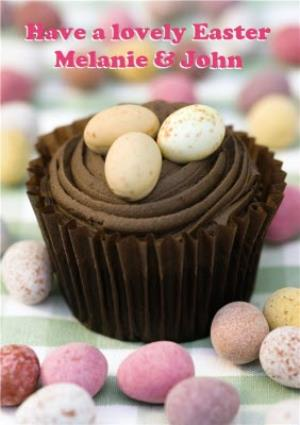 Greeting Cards - Chocolate Easter Eggs Personalised Happy Easter Card - Image 1