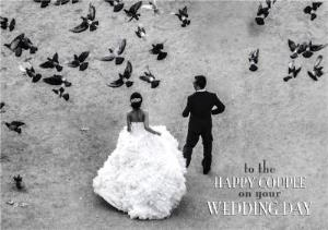 Greeting Cards - Black And White Birds To The Happy Couple Wedding Day Card - Image 1