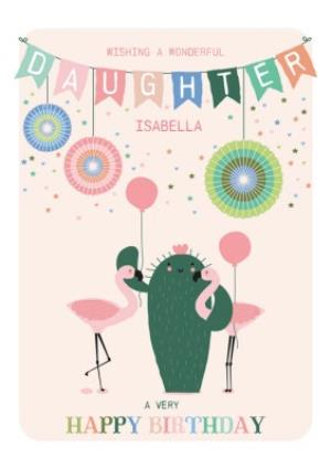 Greeting Cards - Cute Wonderful Daughter Flamingo Birthday Card  - Image 1