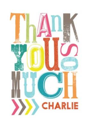 Greeting Cards - Colourful Trendy Lettering Personalised Thank You Card - Image 1