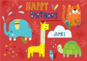 Greeting Cards - Baby Animals Happy Birthday Card - Image 1