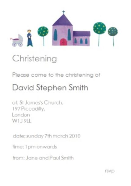 Greeting Cards - Classic Church With Trees Personalised Christening Invite Card - Image 1