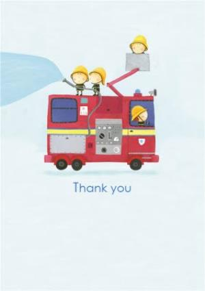 Greeting Cards - Cartoon Firemen And Firetruck Personalised Card - Image 1