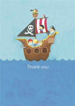 Greeting Cards - Cartoon Pirates At Sea Personalised Card - Image 1