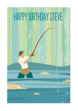 Greeting Cards - Fly Fishing Personalised Happy Birthday Card - Image 1