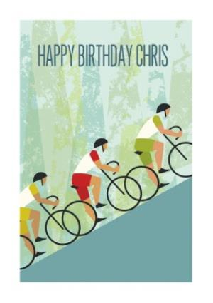 Greeting Cards - Cartoon Cyclists Climbing A Hill Personalised Happy Birthday Card - Image 1