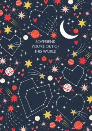 Greeting Cards - Colourful Cosmos You're Out Of This World Boyfriend Valentine's Card - Image 1