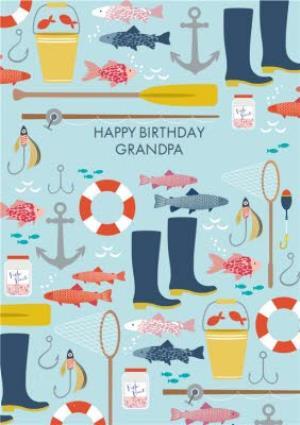 Fishing With Grandad Personalised Birthday Greetings Card