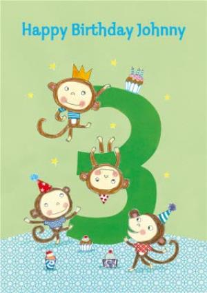 Greeting Cards - Cheeky Monkeys Happy 3Rd Birthday Card - Image 1