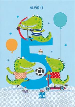 Greeting Cards - Crocodiles 5th Birthday Card - Image 1