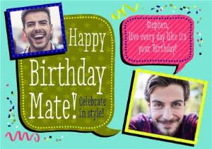 Greeting Cards - Colourful Captions Happy Birthday Photo Card - Image 1