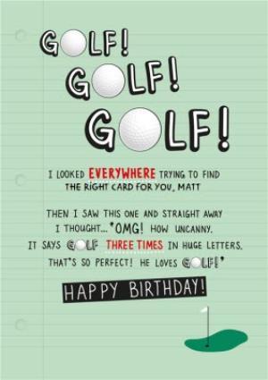 Golf Fanatic Happy Birthday Card