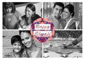 Greeting Cards - Black And White 4 Square Grid Personalised Photo Upload Happy Diwali Card - Image 1