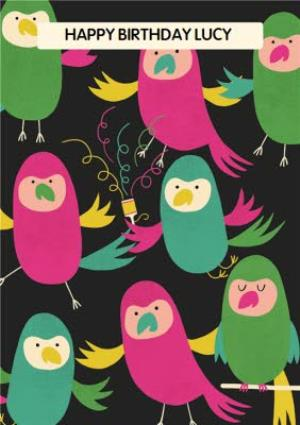 Greeting Cards - Colourful Birds Personalised Happy Birthday Card - Image 1